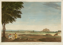'S. W. View of Trichinopoly, Seringham & Jumbo-Kistna'. Coloured aquatint by J. Wells after a drawing by Capt. Trapaud, 1788